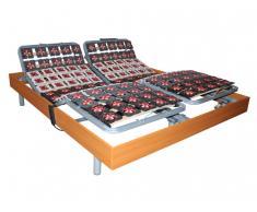 Relax-Lattenrost 2x78 Tellermodule Kirschbaumholz von DREAMEA - 2x100x200 cm - OKIN-Motoren