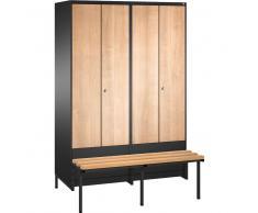 C+P Garderobenschrank + paarweise + tiefergelegtem Sitzbank, b120xt50xh185cm