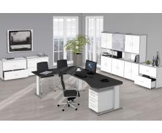 ARTLINE Büromöbel Set, 1 ergonomischer Arbeitsplatz mit Anbautisch, 550x550