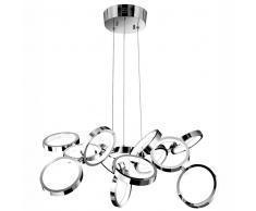 CREAZIONE LED-Pendelleuchte, chrom, 13 Ringe, 1302200313