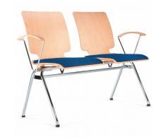 AXO 2er Sitzbank mit 4-Fuß-Gestell und Armlehnen, Holz-Sitzschalen mit Vorlegepolster