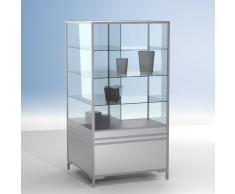LINK Eck-Vitrinenmodul für Theken 90°, mit Unterschrank, b100xt60xh190cm