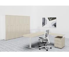 TREND PUR Büromöbel Set, Einzelarbeitsplatz mit Schrankwand, 300x300cm