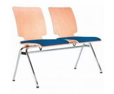 AXO 2er Sitzbank mit 4-Fuß-Gestell und Holz-Sitzschalen mit Vorlegepolster