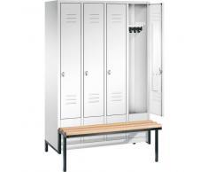 C+P Garderobenschrank mit Sitzbank-Untergestell, b119xt50xh185cm