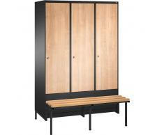C+P Garderobenschrank mit tiefergelegtem Sitzbank, b120xt50xh185cm