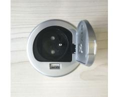 KERKMANN Schreibtisch-Steckdose mit Schutzkappe und USB-Port, ohne Einbau