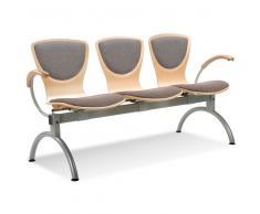 BINGO Sitzbank mit Metallgestell und Armlehnen, 3 Holz-Sitzschalen mit Vorlegepolster