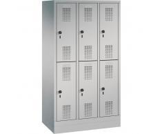 C+P Garderobenschrank mit Sockel für Grundschulen, 6 Fächern, b90xt30xh165cm
