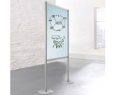 SCREEN-INTRO Stellwand, 2-seitig mit Whiteboard- und Glastafel, b100-120xt35xh190cm