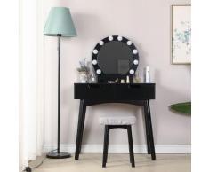 Schminktisch mit LED-Beleuchtung, Runder Spiegel, 2 Schublade und Fächern | schwarz | modern | MDF