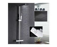 Thermostat Duschsystem Regendusche Eckig Duschpaneel Duscharmatur Duschset inkl. Überkopfbrause