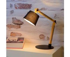 Modische Schreibtischleuchte Olly aus Metall und Holz mit Textilschirm in schwarz EEK A++ [Spektrum