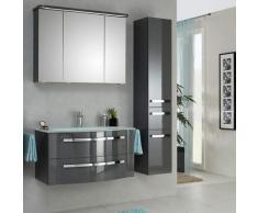 Lomadox - Badmöbel Set mit Glaswaschtisch und LED-Spiegelschrank FES-4005-66 in Steingrau lackiert,