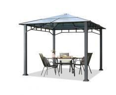 Gartenpavillon ca. 3x3 m Aluminium Gestänge Polycarbonat Dach ca. 8mm Pavillon Gartenzelt ohne