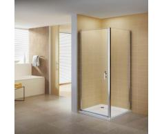 Duschkabine Duschabtrennung Eckkabine NANO-ESG Klarglas DK668 Links und Rechts montierbar 100x80 (