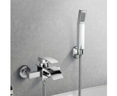 Elegant Zeitgenössische Chrom Armatur Wasserfall Badewanne Wasserhahn inkl. Wandhalterung mit