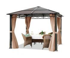 Gartenpavillon 3x3 m wasserdicht ALU Deluxe Pavillon mit 4 Seitenteilen Partyzelt in taupe