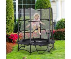 ® Trampolin Kinder Gartentrampolin mit Sicherheitsnetz Randabdeckung gepolstert Stahl Schwarz
