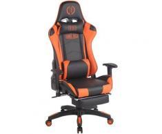 CLP - Bürostuhl Turbo XL mit Fußablage-schwarz/orange-Kunstleder