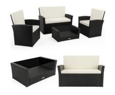 Poly Rattan Lounge Set 7cm Auflagen 2 Sessel Bank Tisch Sitzgruppe Gartenmöbel Balkonmöbel Balkon