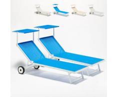 2 Sonnenliegen Strandliegen aus Aluminium mit Rollen für Garten Swimmingpool Alabama | Blau