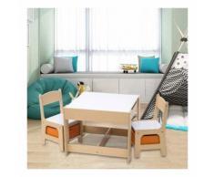 Mercatoxl - Kindertisch mit 2 Stühle Sitzgruppe mit Stauraum für Kinder weiß