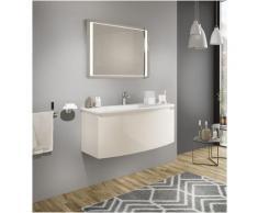 Badezimmer Badmöbel 80 cm Venere aus glänzend Creme Holz mit Keramik Waschtisch und Spiegel |