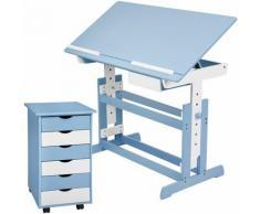 Kinderschreibtisch und Rollcontainer - Computertisch, Bürotisch - blau