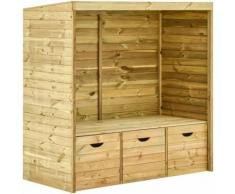 Asupermall - Gartenlaube-Bank Mit 3 Schubladen 170 Cm Massivholz Kiefer