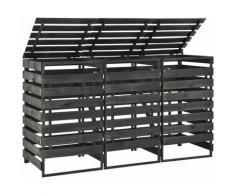 Betterlife - Mülltonnenbox für 3 Tonnen 210x75x121 cm Kiefer Massivholz