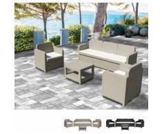 Loungeset Gartenmöbelset Outdoor Rattan Tisch Sofa Sessel 5 Pläzte Grand Soleil Positano   Beige