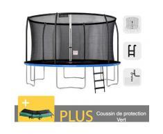 Rundes Outdoor-Trampolin Blau + Grün 430 + Leiter + Garten-Fitness-Ankerset 427 cm - EU-Normen,