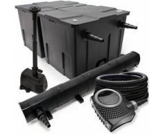 Filter Set aus Bio Teichfilter 60000l, 72W UVC Klärer, Pumpe, 25m Schlauch und Springbrunnenpumpe