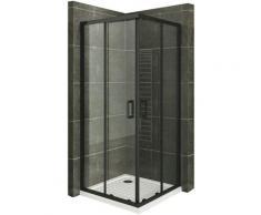 Duschkabine mit Schiebetüren Eckdusche mit Rollensystem aus ESG Glas 180cm Hoch mit schwarze