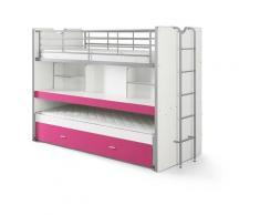 Kindermoebel-24shop - Etagenbett Eva 3er Bett mit ausziehbarer Schreibplatte + Bettkasten + 2