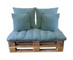 5tlg Palettenkissen-Set, Ombre Blue / 120x80cm / 2x(65x65cm) / 2x(45x45cm) Sitzkissen Polsterkissen