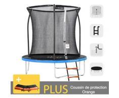 Rundes Outdoor-Trampolin Blau + Orange 250 + Leiter + Verankerungsset + Garten-Fitnesstasche 244 cm
