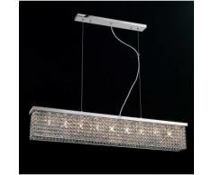 09-diyas - Piazza Rechteckige Pendelleuchte 9 Glühlampen aus poliertem Chrom / Kristall