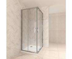 Duschkabine mit Schiebetüren Eckdusche mit Rollensystem aus ESG Glas 190cm Hoch 100x110