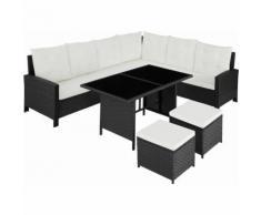 Rattan Lounge Barletta - Loungemöbel, Gartenmöbel, Gartengarnitur - schwarz
