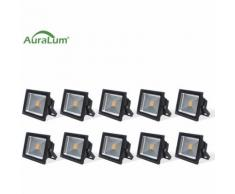 10×50W LED Außenstrahler Fluter Flutlichtstrahler, 3000K Warmweiß 4500 Lumen 230V IP65 Wasserdicht,