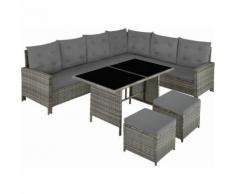 Rattan Lounge Barletta, Variante 2 - Loungemöbel, Gartenmöbel, Gartengarnitur - gris/beige