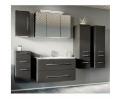 Lomadox - Badezimmer Set anthrazit Seidenglanz ABUJA-02 mit 100cm Keramik-Waschtisch &