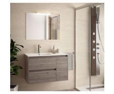 Badezimmer Badmöbel 85 cm aus Eiche eternity Holz mit Porzellan Waschtisch | mit Kolonne, Spiegel