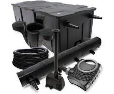 FilterSet: Bio Teichfilter bis 90000l, UV Klärer mit 72W, 80W Pumpe, Schlauch u. Springbrunnenpumpe