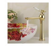 Badarmatur Farbe Gold, Ausführung in poliertem Messing, Einhebelarmatur
