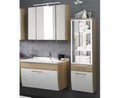 Badmöbel Set TALONA-02 Hochglanz weiß, Sonoma Eiche, 90cm Waschtisch, LED-Spiegelschrank (3-teilig)