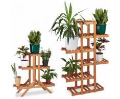 2x Pflanzentreppe im Set, Blumentreppe, Blumenregal, Pflanzenregal, Etagere, Blumenständer,