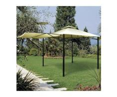 Pavillon 3,3x3,3 m aus lackiertem Metall mit Seitenmarkise, die als Veranda geöffnet werden kann |